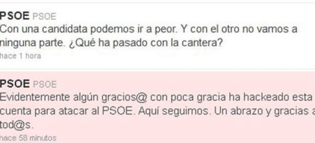 El PSOE justifica con un 'hackeo' una crítica a Chacón y Rubalcaba en su cuenta de Twitter