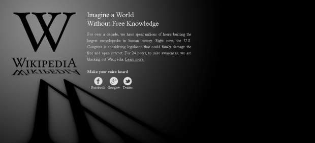 Wikipedia lidera el apagón virtual contra SOPA, la ley antipiratería que pretende aprobar EE UU