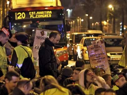Protesta de los Mossos en la Diagonal