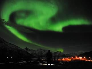 La aurora boreal en el cielo noruego
