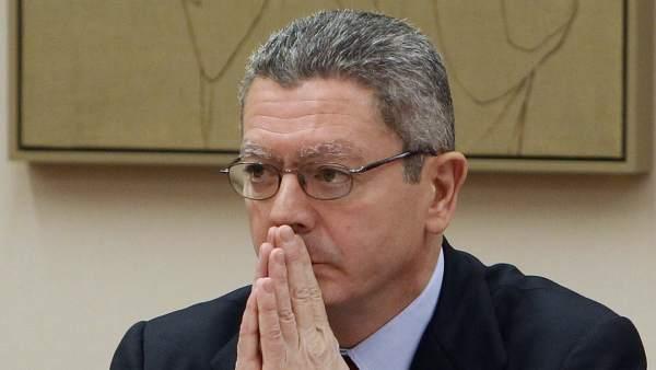 Alberto Ruiz-Gallardón, en la comisión de Justicia del Congreso