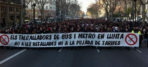 Manifestaci�n de trabajadores de TMB.