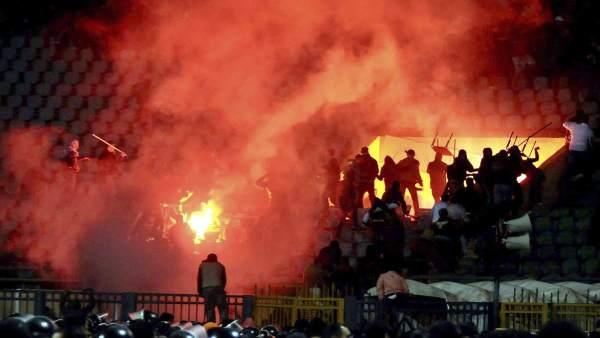 Disturbios en un partido de la Liga egipcia