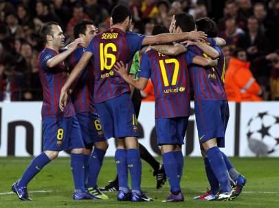 El Barça celebra un gol de Messi