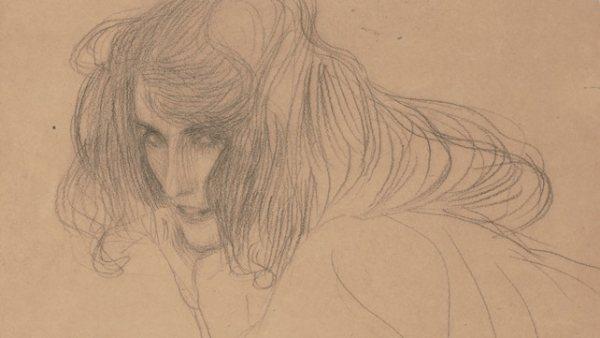 'Studie eines Frauenkopfes im Dreiviertelprofil für die 'Unkeuschheit' im 'Beethovenfries', 1901-1902'