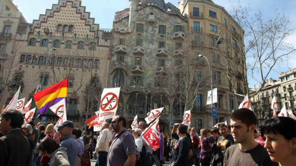 Masiva protesta en Barcelona
