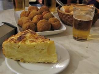 Cerveza y tortilla de patata