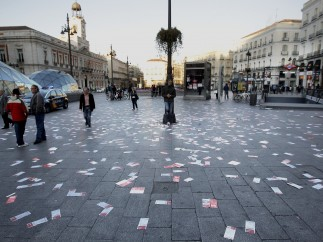 La Puerta del Sol, durante la huelga
