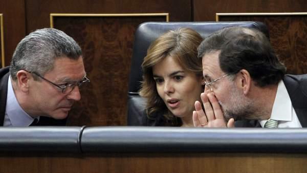 Rajoy, con Sáenz de Santamaría y Gallardón