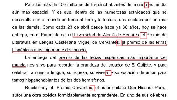 Carta del ministro Wert el Día del Libro 2012