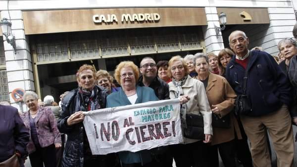 Manifestación de jubilados en Bankia