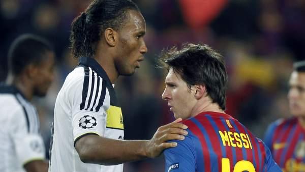 Messi y Drogba tras el Barça - Chelsea