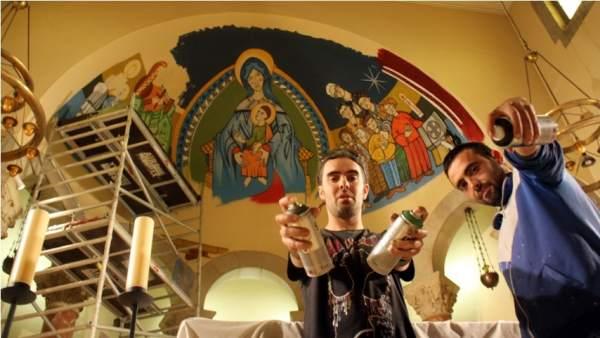 Mural grafitero inspirado en el románico.
