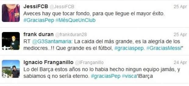Los tuiteros agradecen a Guardiola su etapa en el Barça