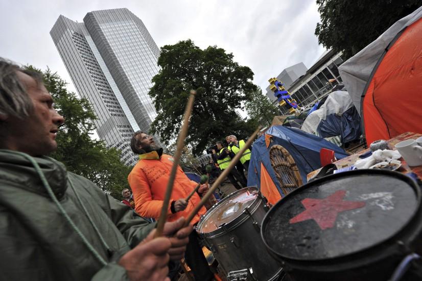 Protestas en la sede del BCE