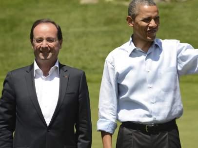 Hollande, Obama y Merkel