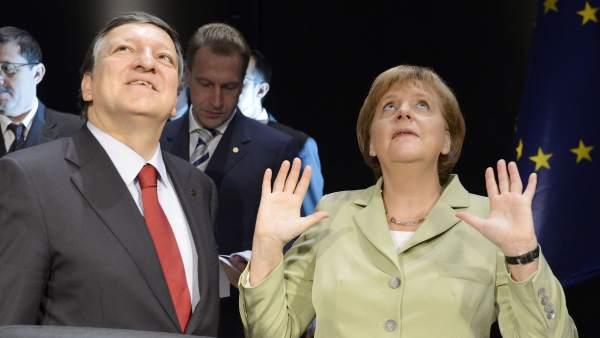 Merkel y Durao Barroso