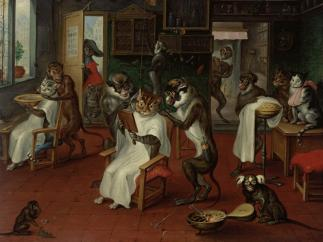 'Barber shop with monkeys and cats'