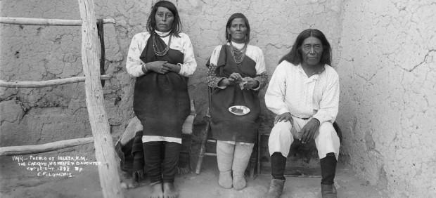 'Cacique Bautista Chivira, with his wife and daughter Lupe Chivira and Rafaelita Chivira Charles'