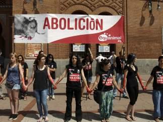 Protesta contra los toros en Madrid.