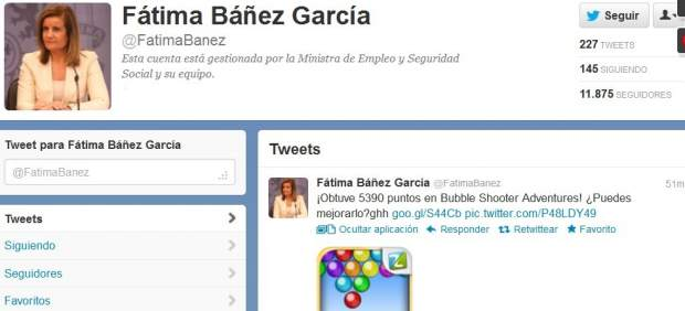 "Fátima Báñez, en Twitter: ""¡Obtuve 5390 puntos en Bubble Shooter Adventures!"""
