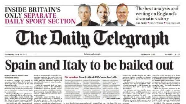 Portada de The Daily Telegraph