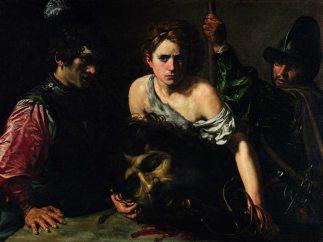 'David con la cabeza de Goliat y dos soldados'