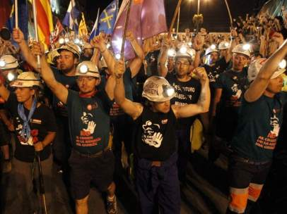 Los mineros, en la Puerta del Sol