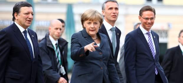 Durao Barroso, Merkel, Stoltenberg y Katainen