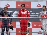 Fernando Alonso, en el podio