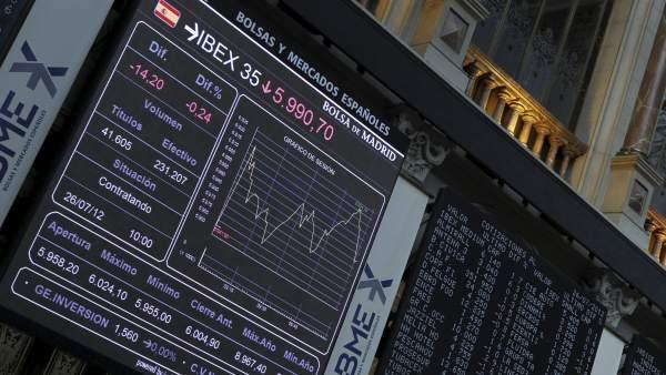 Índice Ibex 35 en la Bolsa de Madrid