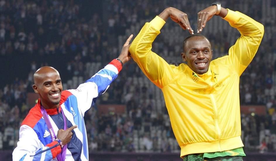 Bolt y Mo Farah