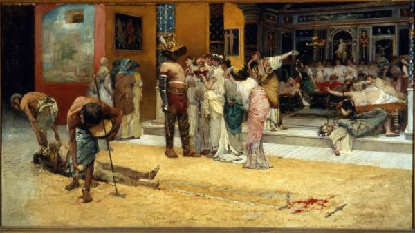 'Gladiator Fight during a Meal at Pompeii, 1880'