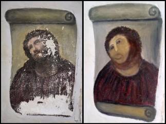 """Una anciana """"destroza"""" un 'Ecce Homo'"""
