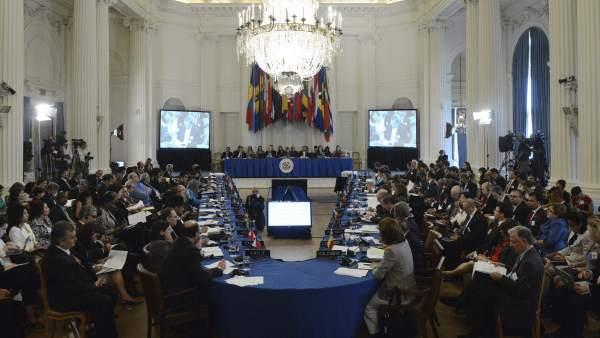 buy online fb12e 8daac Miembros de la Organización de Estados Americanos (OEA) durante una reunión.