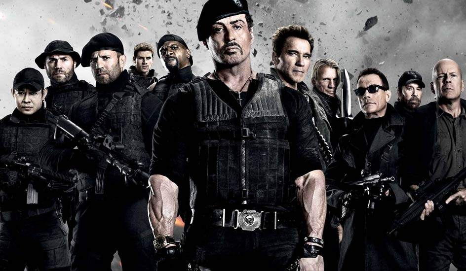 The Expendables, cinema, Hollywood,  Dolph Lundgren, Jason Statham, Jet Li, Terry Crews, Randy Couture, Mickey Rourke,  Bruce Willis, Arnold Schwarzenegger, Jackie Chan, Sylvester Stallone