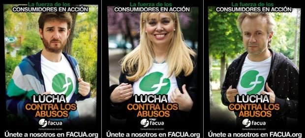 Gorka Otxoa, Emma Ozores y Tristán Ulloa, en una campaña contra las tarifas de 'roaming'