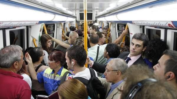 Un andén del metro, en Madrid