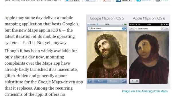 La web All Things Digital compara los mapas de Apple con en 'Ecce Homo'