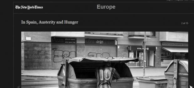 Captura de la edición digital de 'The New York Times' que ha publicado este lunes el reportaje fotográfico 'In Spain, Austerity and Hunger'.