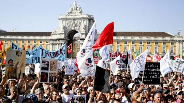 Manifestación en Portugal