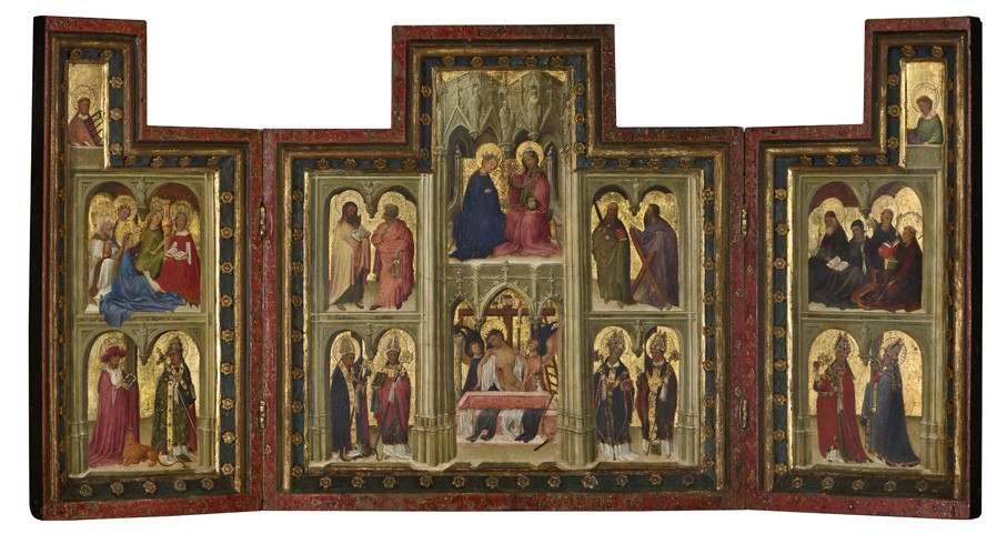 'The Man of Sorrows, Christ and the Virgin, and Saints (The Norfolk Triptych)', c. 1410-1420