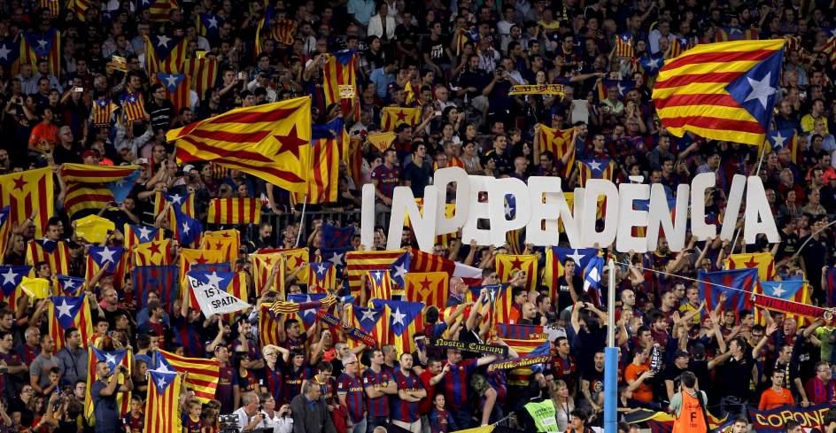El Camp Nou durant les reivindicacions independentistes la tardor passada