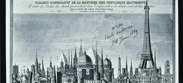 'Cuadro comparativo de la altura de los grandes monumentos del mundo, 1889'