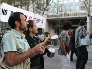 Frente a la Bolsa de Barcelona