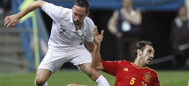 Juanfran y Ribery en el España - Francia