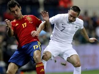Arbeloa y Ribery en el España - Francia