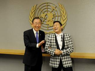 PSY 'Gangnam Style' con Ban Ki-moon en la ONU