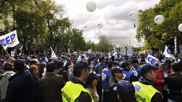 Protesta policial contra los recortes