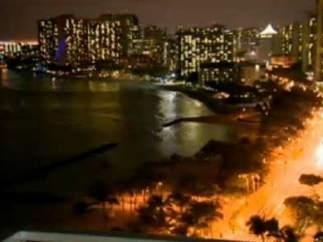 Imágenes de Hawai en la llegada del tsunami